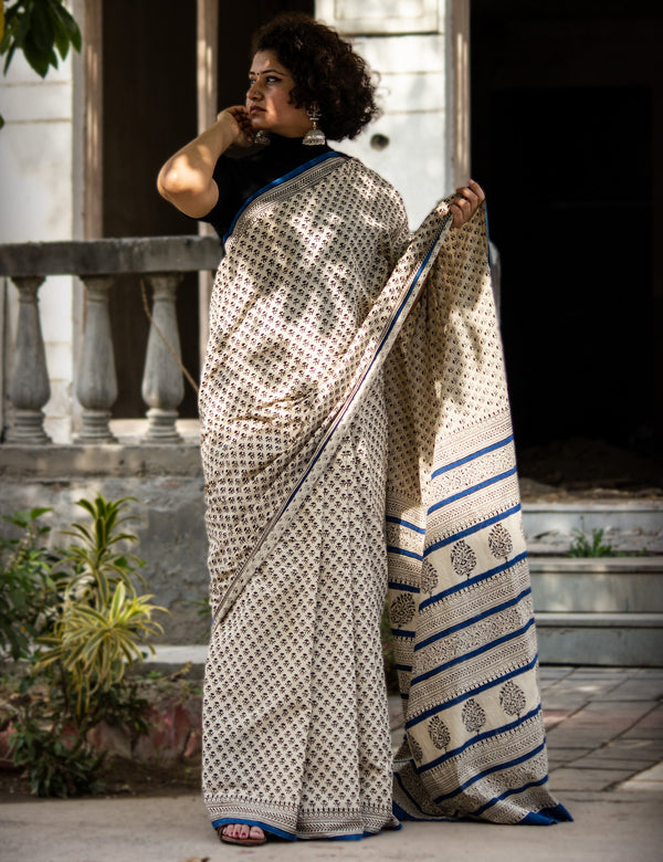 White Handblock Printed Mulmul Cotton Saree with Black Buties