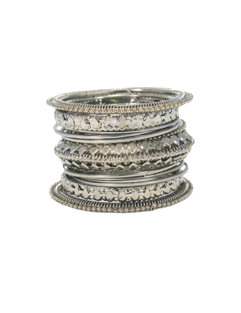 Beautiful Designer Royal Silver Plated Pearl and Leaf Design Bangles Set (Set of 12)