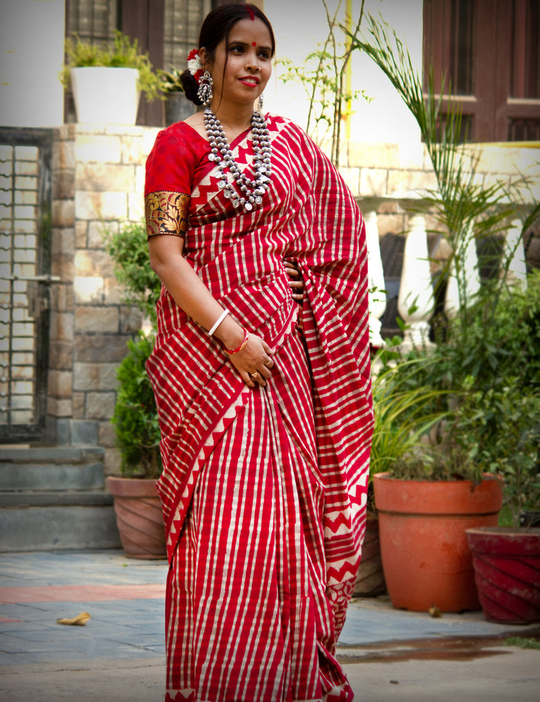 Red White check Handblock Printed Mulmul Cotton Saree