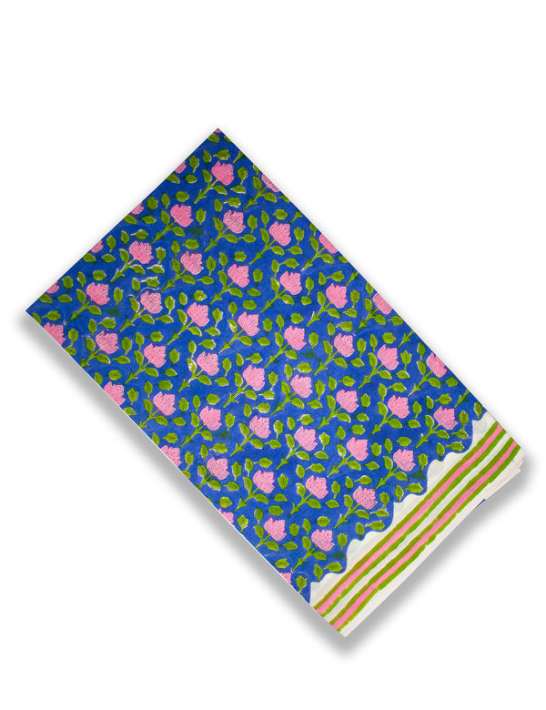 Blue Pink Lotus Floral Cotton Hand Block Printed Kurta Set unstitched Fabric with Kota Doria Dupatta