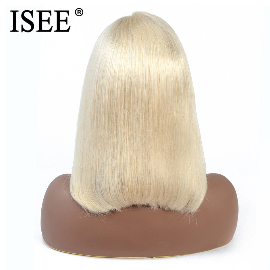 [A912] Blue Straight Bob Wig 13X4Pink 613 Short Lace Front Human Hair Wigs For Women 150% Density Malaysian Straight Bob Lace Front Wig