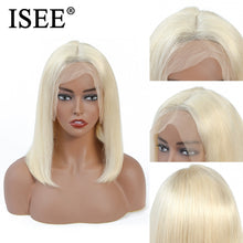 Load image into Gallery viewer, [A912] Blue Straight Bob Wig 13X4Pink 613 Short Lace Front Human Hair Wigs For Women 150% Density Malaysian Straight Bob Lace Front Wig
