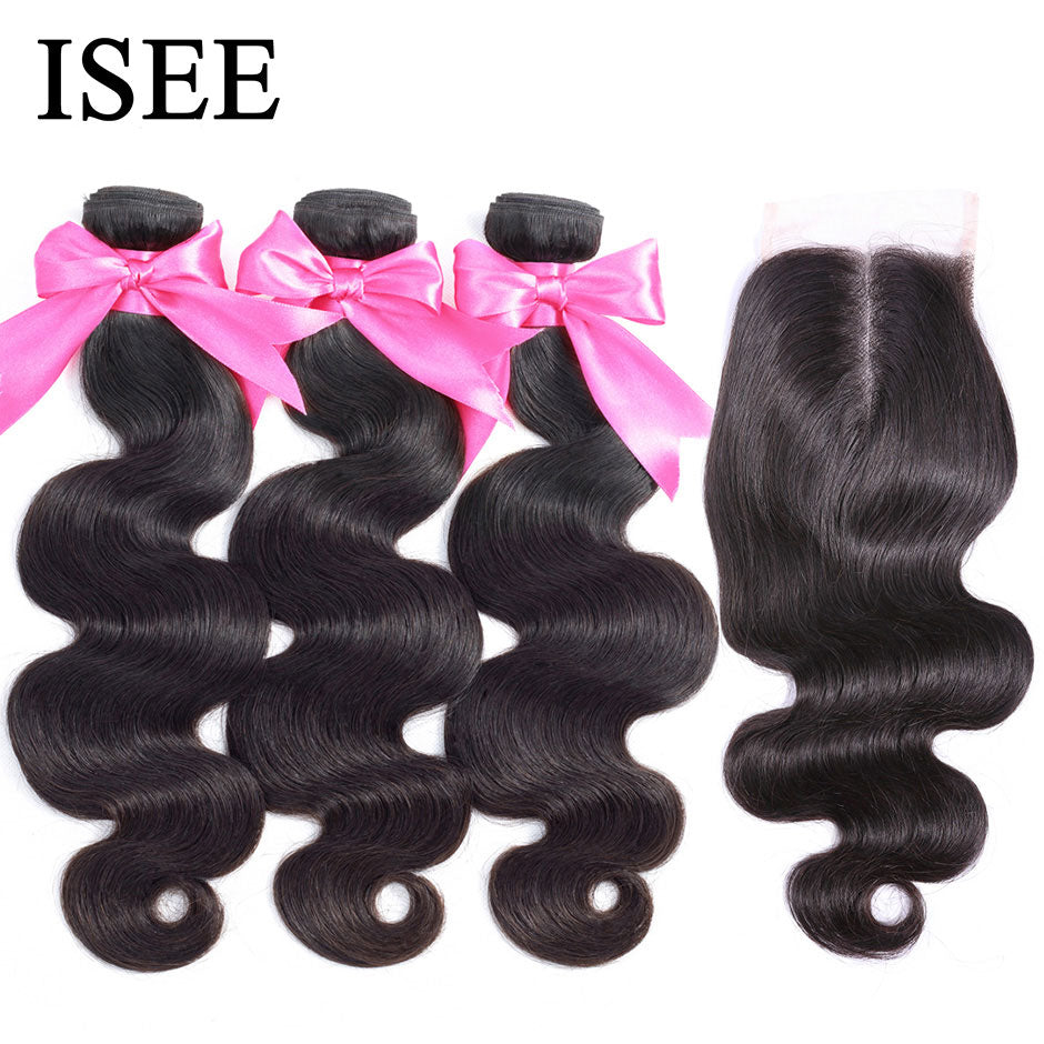 [B566] Body Wave Human Hair Bundles With Closure Bundles With Frontal Brazilian Body Wave Hair Weave Bundles With Closure