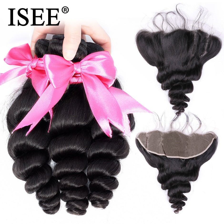 [H218] Brazilian Loose Wave Hair Bundles With Frontal Remy 13*4 Lace Frontal With Bundles Human Hair Bundles With Frontal