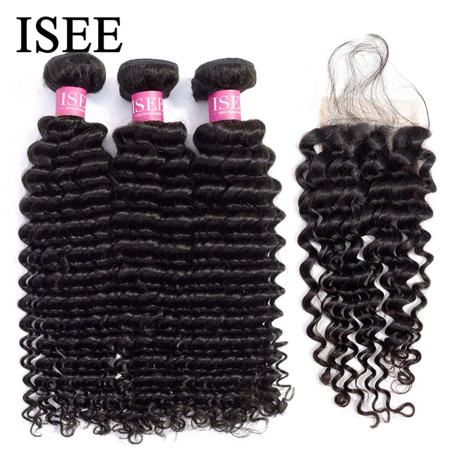 [H213] Deep Wave Bundles With Closure With Closure Human Hair Bundles With Frontal Brazilian Hair Weave Bundles With Closure