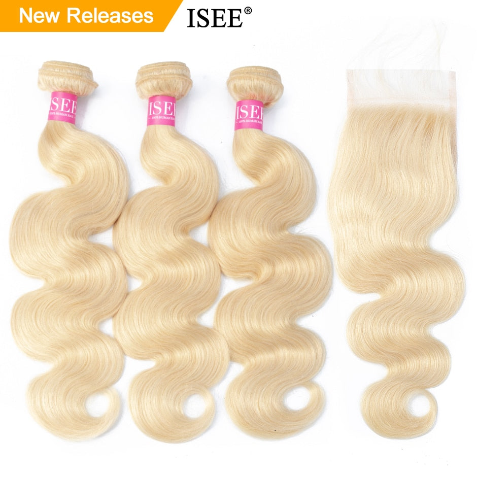 [C339] Body Wave 613 Bundles With Closure Brazilian Hair Weave Bundles Virgin Human Hair Blonde Bundles With Closure