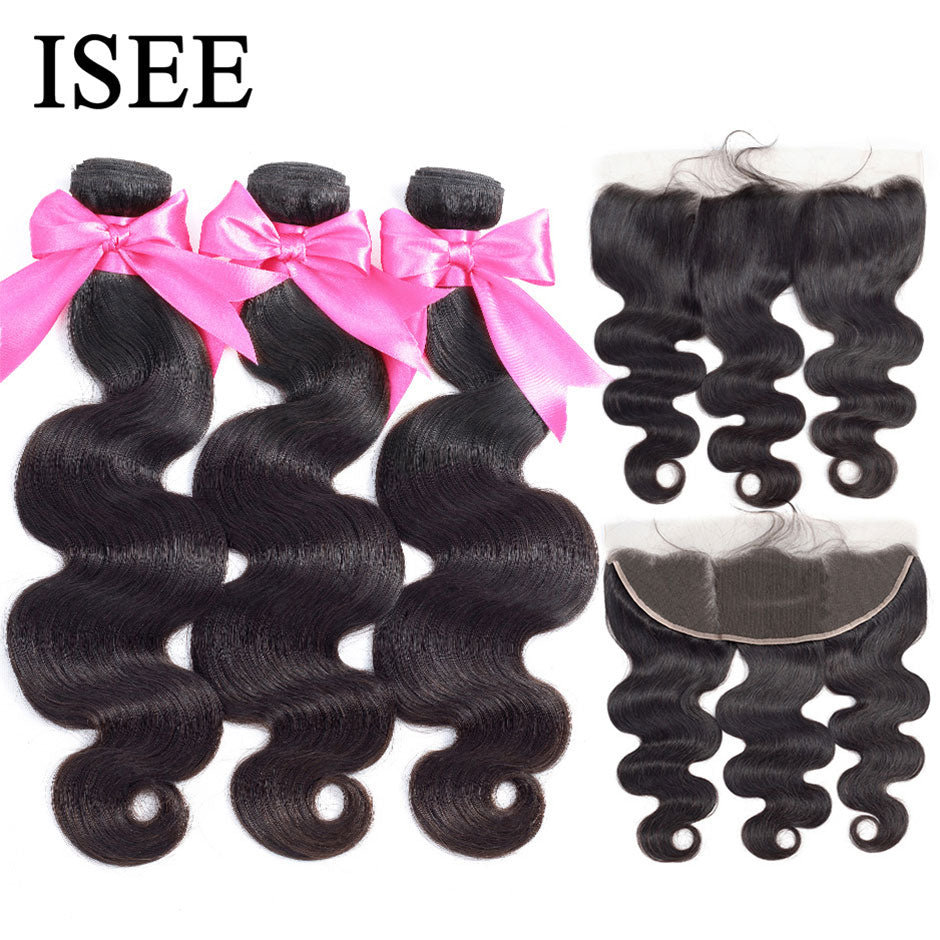 [B552] Brazilian Body Wave Bundles With Frontal Remy Human Hair Bundles With Closure 13*4 Lace Frontal With Bundles Body Wave