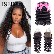 Load image into Gallery viewer, [H215] Brazilian Loose Deep Bundles With Closure 100% Remy Human Hair Bundles With Closure 3/4 Bundles Hair With Closure