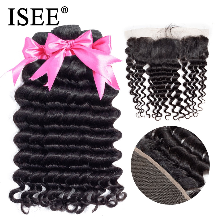 [H228] Human Hair Bundles With Frontal 13*4 Pre Plucked Lace Frontal Remy Peruvian Loose Deep Bundles With Frontal