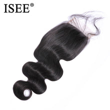 "Load image into Gallery viewer, [I134] Malaysian Body Wave Closure 4"" x 4"" Swiss Lace Closure Free Part 100% Remy Human Hair  Free Shipping Nature Color"