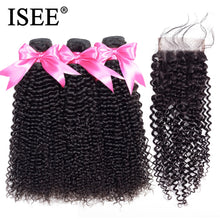 Load image into Gallery viewer, [F074] Malaysian Kinky Curly Bundles With Closure Remy Human Hair Bundles With Closure 4*4 Swiss Lace 3 Bundles Hair Weaves