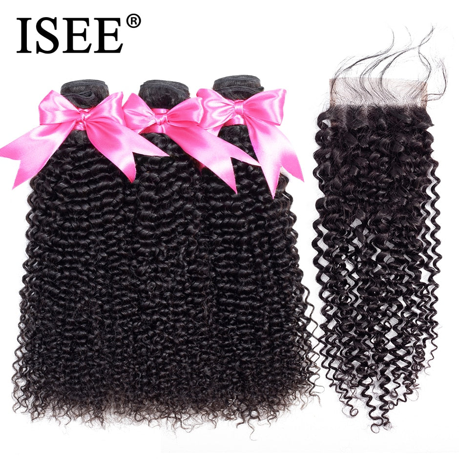 [F074] Malaysian Kinky Curly Bundles With Closure Remy Human Hair Bundles With Closure 4*4 Swiss Lace 3 Bundles Hair Weaves