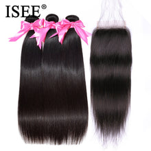 Load image into Gallery viewer, [B555] Peruvian Straight Hair Bundles With Closure Remy Human Hair Bundles With Closure 3 Bundles With Closure Nature Color
