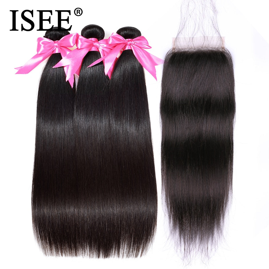 [B555] Peruvian Straight Hair Bundles With Closure Remy Human Hair Bundles With Closure 3 Bundles With Closure Nature Color