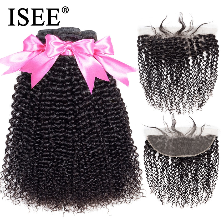 [F077] Peruvian Kinky Curly Bundles With Frontal Remy 13*4 Pre Plucked Lace Frontal Human Hair Bundles With Frontal