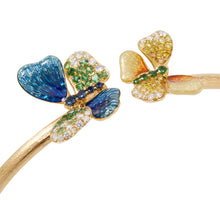 Lade das Bild in den Galerie-Viewer, BUTTERFLY 18-karats yellow gold, tsavorite and diamond bangle - heting-jewellery
