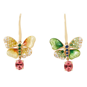 BUTTERFLY 18-Karats yellow gold, sapphire and diamond earrings - heting-jewellery