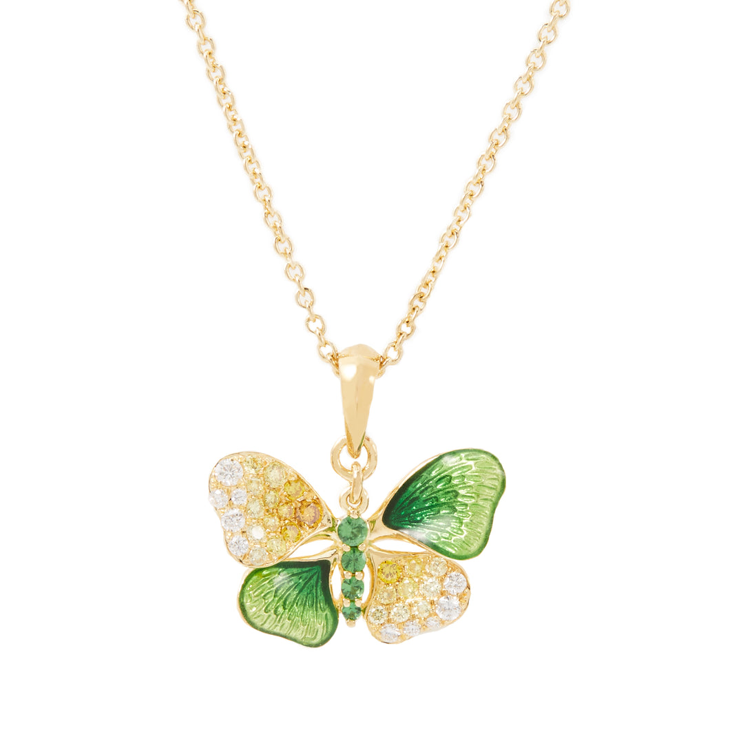 BUTTERFLY 18-Karats yellow gold, enamel, tsavourite and diamond necklace - heting-jewellery