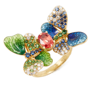 BUTTERFLY 18-karats yellow gold, sapphire and diamond ring - heting-jewellery