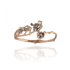 GOLDENBERRY 18-karat rose gold, pearl, pink sapphire and diamond bangle - heting-jewellery