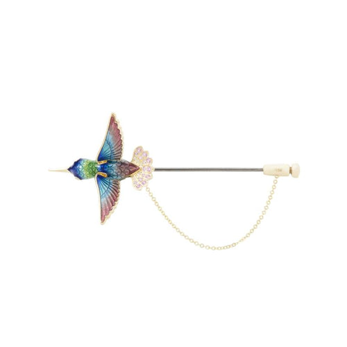 INSECT 18K yellow gold, sapphire and diamond bird brooch - heting-jewellery