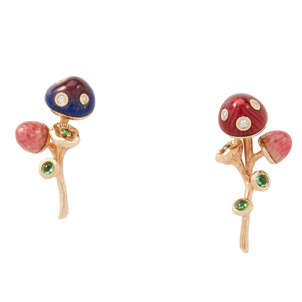 MUSHROOM 18 karat rose gold, diamond, tsavorite and enamel earrings - heting-jewellery