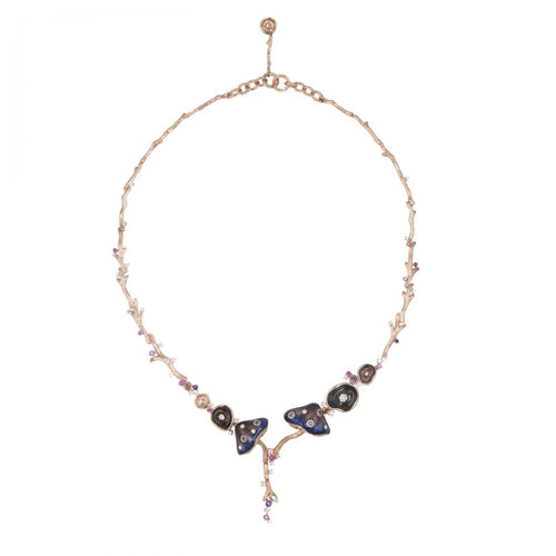 MUSHROOM 18 karats rose gold, diamond, amethyst, quartz, sapphire, purple enamel necklace - heting-jewellery