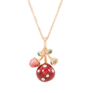 MUSHROOM 18 karats rose gold, diamond, tsavorite and hot enamel necklace - heting-jewellery