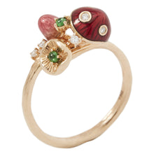 Load image into Gallery viewer, MUSHROOM 18 karat rose gold, diamond, tsavorite, red enamel diamond ring - heting-jewellery