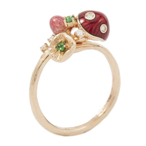 MUSHROOM 18 karat rose gold, diamond, tsavorite, red enamel diamond ring - heting-jewellery