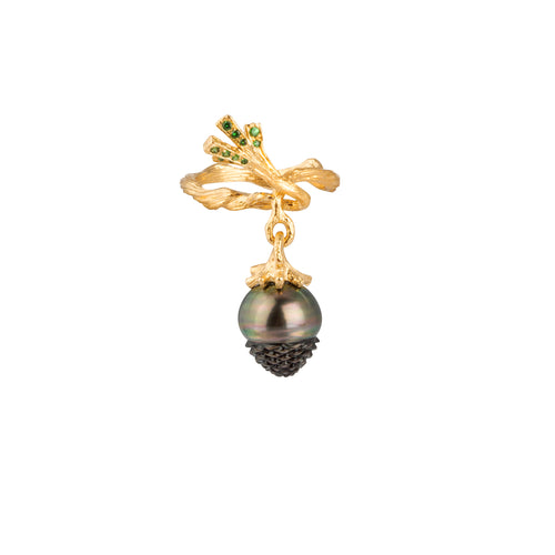 PINECONE 18K yellow gold, black pearl and tsavorites earring - heting-jewellery
