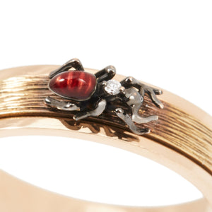 LITTLE CREATURES 18-karats yellow and rose gold, diamond, enamel turnable ring - heting-jewellery