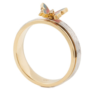 LITTLE CREATURES 18-karats white and yellow gold, enamel, white diamond ring - heting-jewellery