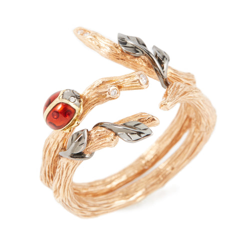 LITTLE CREATURES 18-karats rose gold,diamond and enamel double ring - heting-jewellery