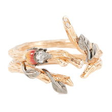Load image into Gallery viewer, LITTLE CREATURES 18-karats rose gold, diamond enamel double ring - heting-jewellery