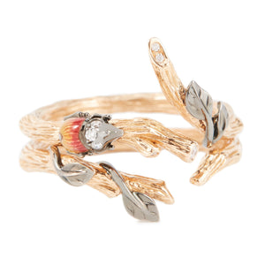 LITTLE CREATURES 18-karats rose gold, diamond enamel double ring - heting-jewellery