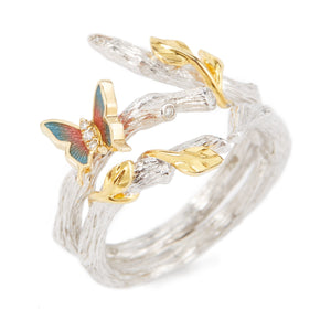 LITTLE CREATURES 18-karats white gold, white diamonds, enamel double ring - heting-jewellery