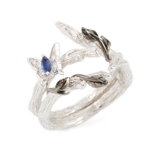 LITTLE CREATURES 18-karats white gold, diamond, sapphire double ring - heting-jewellery