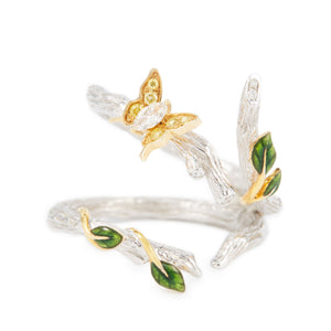 LITTLE CREATURES 18-karats white gold, yellow and white diamonds, enamel double ring - heting-jewellery