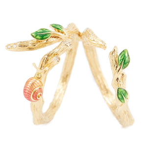 LITTLE CREATURES 18-karats rose gold, yellow & white diamond double ring - heting-jewellery