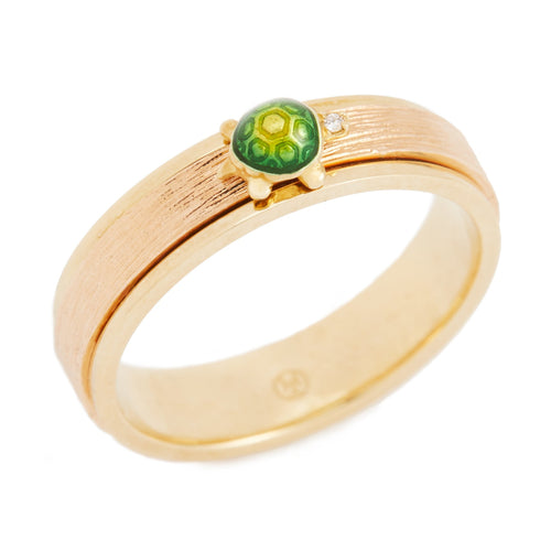 LITTLE CREATURES 18-karats brown and yellow gold, enamel, white diamond ring - heting-jewellery