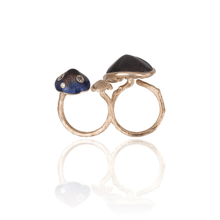 将图片加载到图库查看器,MUSHROOM 18-karat rose gold, quartz, purple enamel double ring - heting-jewellery