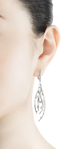 DEWDROP 18 karat white gold, jade cabochons and fancy diamond earrings - heting-jewellery