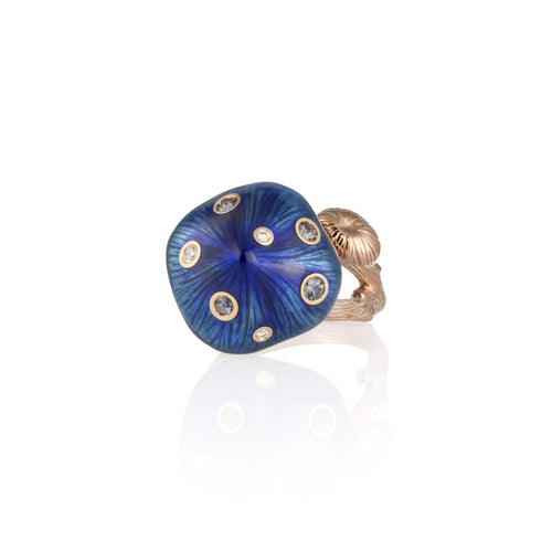 MUSHROOM 18 karat rose gold, garnet, blue enamel diamond ring - heting-jewellery