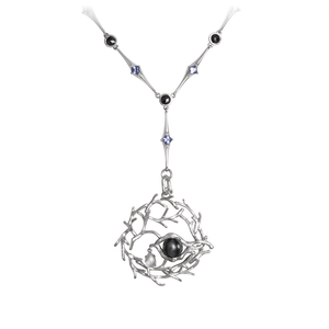 TREE OF LIFE 18 karat white gold, pearl, diamond and tanzanites necklace - heting-jewellery