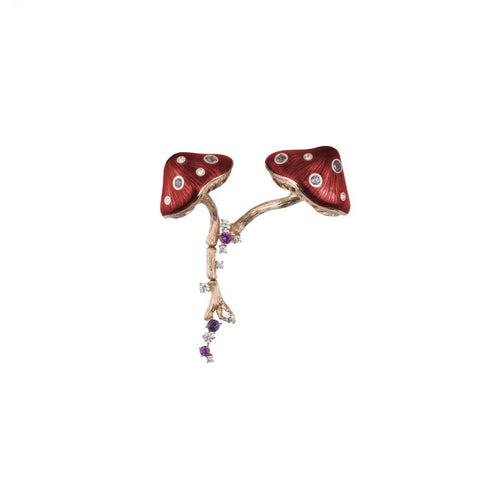 MUSHROOM 18 karat rose gold, garnet, sapphire, amethyst, diamond and red enamel brooch - heting-jewellery