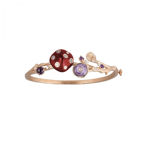 MUSHROOM 18-karat rose gold, garnet, amethyst, diamond and red enamel bangle - heting-jewellery