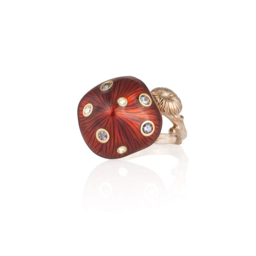 MUSHROOM 18 karat rose gold, garnet, red enamel diamond ring - heting-jewellery
