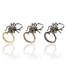 Load image into Gallery viewer, INSECT 18 karat black rhodium gold, gold beads and tsavorites spider brooch - heting-jewellery