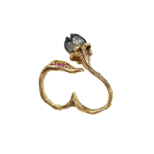 BELLFLOWER 18K yellow gold, black pearl and ruby double ring - heting-jewellery